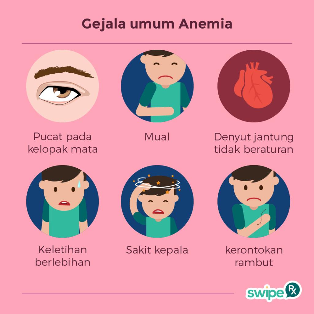 Gejala umum Anemia (img : Swipe RX)